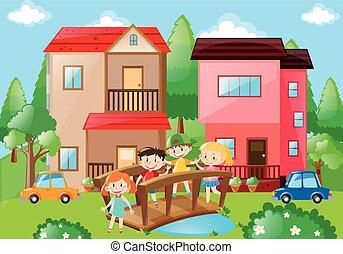 ponticello incrocio, vicinato, bambini