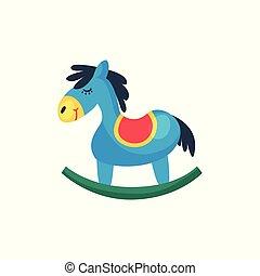 pony, cartolina, application., disegno, horse., blu, web, poco, plastica, rosso, appartamento, colorito, saddle., illustrazione, oscillante, icona, bambini, mobile, elemento, vettore, negozio, o