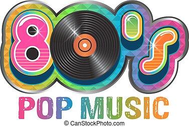 pop, disco, musica, vinile, 80s, logotipo