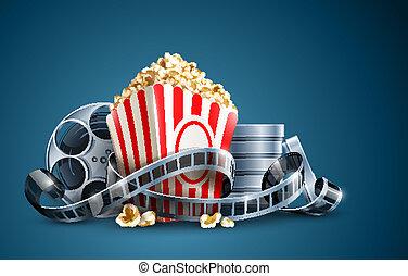 popcorn, bobina film, film