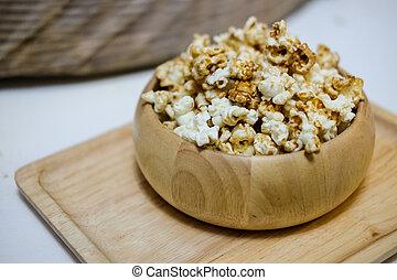 popcorn, dolce, caramello
