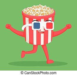 popcorn, il portare, 3d, carattere, occhiali