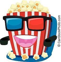 popcorn, il portare, mascotte, vetro, 3d