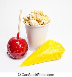 popcorn, mela, mandorle, zuccherato, toffee
