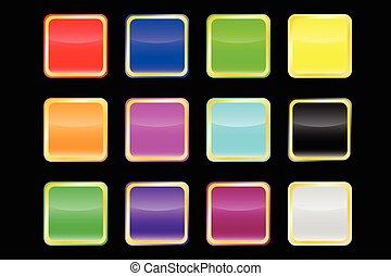popolare, colorare, vettore, bottoni