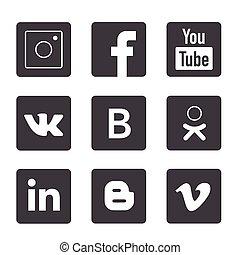 popolare, logos, set, media, sociale