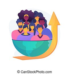 popolazione, illustration., concetto, crescita, astratto, vettore
