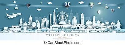porcellana, limiti, city., panorama, viaggiare, beijing, taiwan, xian