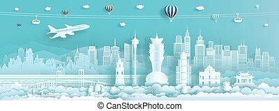 porcellana, limiti, famoso, asia., viaggiare, città, macao
