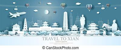 porcellana, limiti, viaggiare, balloons., città, xian, volo