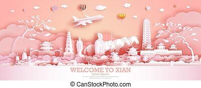 porcellana, limiti, viaggiare, guerriero, antico, horse., città, xian