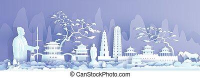 porcellana, viaggiare, punto di riferimento, guerriero, antico, horse., città, xian
