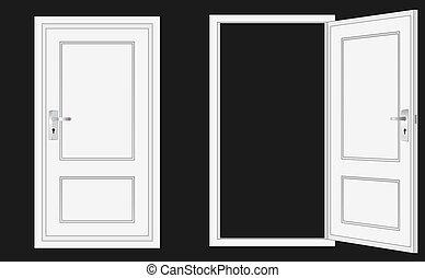 porta, aperto, chiuso