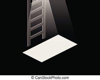 porta apre, luce, illustrazione, top., vettore, seminterrato, basement., scale