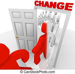 porta, attraverso, avanzando, cambiamento