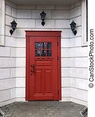 porta, bello, parete, mattone rosso