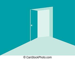 porta blu, aperto, luce, illustrazione, vettore, colors., menta