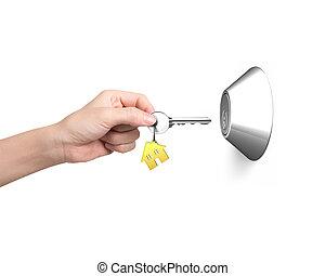porta, casa, portachiavi, forma, chiave, bianco, sbloccando