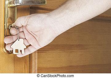 porta, casa, portachiavi, forma, chiave, sbloccando