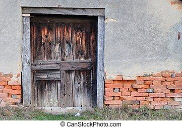 porta, casa, vecchio, legno