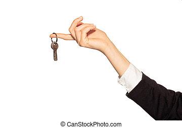 porta, chiavi, mano, dito, femmina, appendere