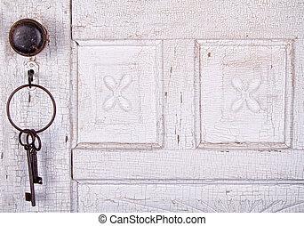 porta, chiavi, vendemmia, appendere