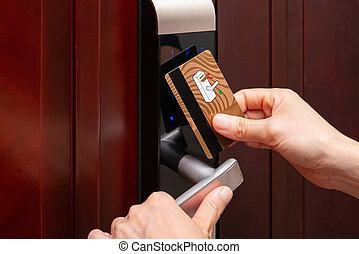 porta, elettronico, apertura, serratura, sicurezza, signora, scheda