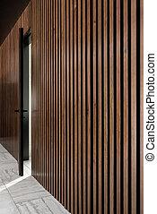 porta, illuminato, parete, grata, interno, legno
