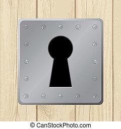 porta, legno, -, illustrazione, vettore, buco serratura