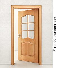 porta, legno, vetro