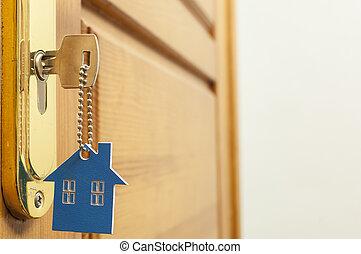 porta, modellato, casa, keyring, serratura principale, argento