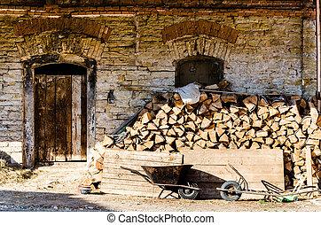 porta, molto, parete, vecchio, mattone, legno