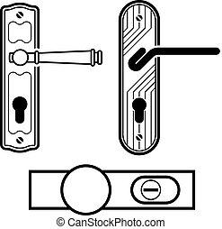 porta, nero, vettore, manico, icone