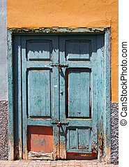 porta, pannelli, pareti, sbucciatura, fesso, vecchio, casa verde, dipinto, rotto, legno, chiudere, lanciato, abbandonato, giallo, circondare