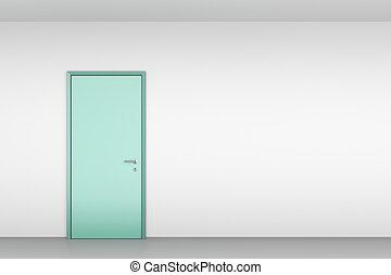 porta, parete, verde bianco