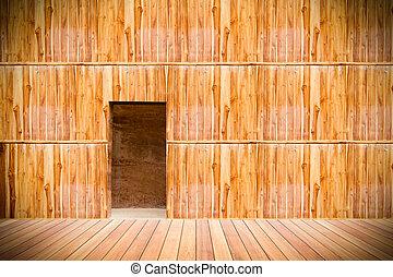 porta, pavimento, parete legno, legno, fronte, spento