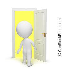 porta, persone, -, piccolo, aperto, 3d