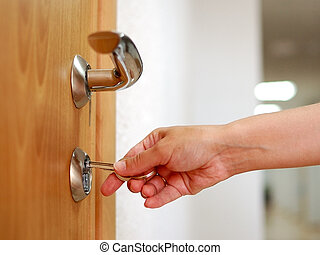 porta, sbloccando, bloccare, mano, chiave, o