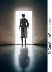 porta, stanza, apertura, luce, scuro, venuta, silhouette, uomo