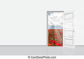 porta, stanza, campo, luminoso, vettore, aperto, illustration.
