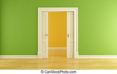 porta, stanza, vuoto, scorrevole