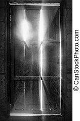 porta, vecchio, illuminazione