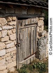 porta, vecchio, parete legno, chiuso chiave, pietra