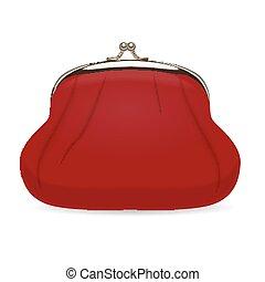 portafoglio, vettore, rosso, illustrazione, realistico