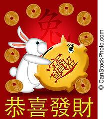 portante, piggy, coniglio, anno, nuovo, 2011, banca, felice