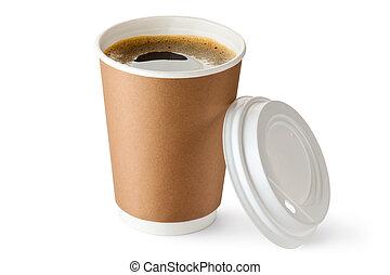 portar via, cartone, caffè, aperto, tazza