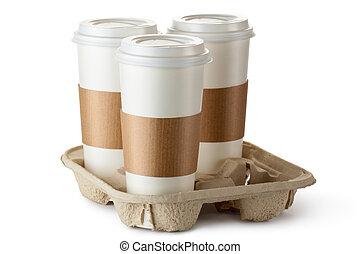 portar via, supporto, caffè, tre