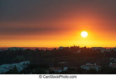 portimao, portugal., città, sopra, tramonto, bello
