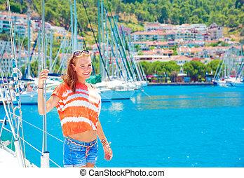 porto, carino, ragazza, yacht