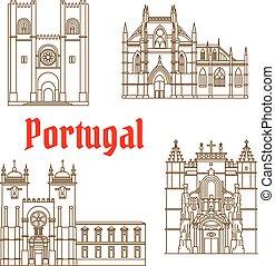 portogallo, disegno, viste, viaggiare, lineare, icona